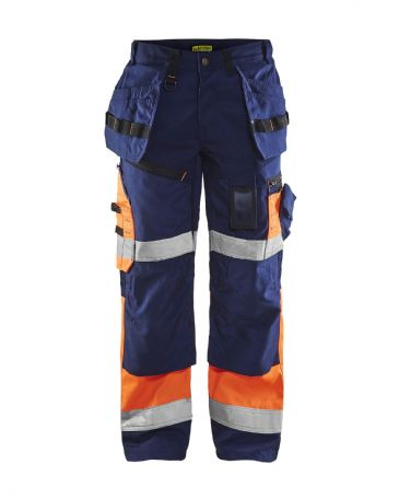 Blaklader 1508 High Visibility Trousers X1500 (Navy Blue/Orange)